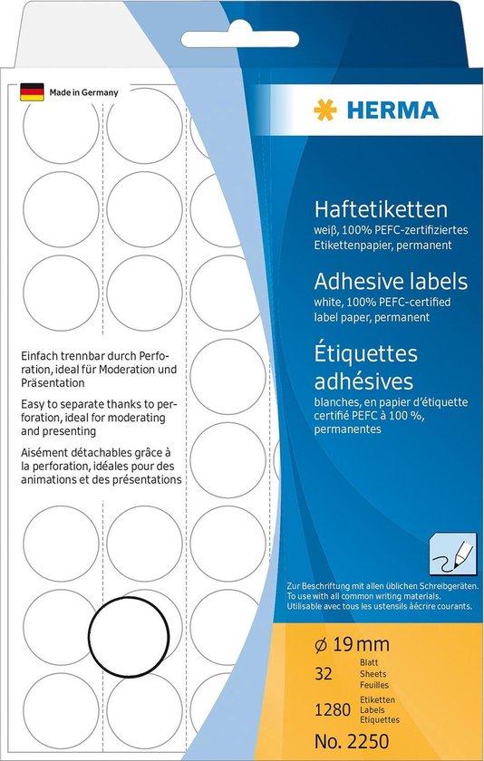 Huismerk Herma 2250 Etiket Rond 19mm Wit - 1280 etiketten
