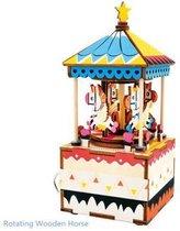 Robotime Muziekdoos 3D Houten Puzzel, Merry-Go-Round