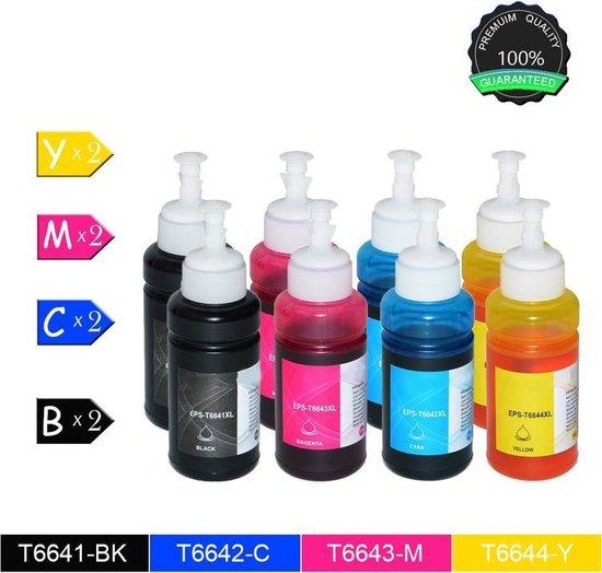 8 Compatible XL Inktcartridges Epson T6641 BK / C / M / Y (2 Zwart, 2 cyaan, 2 Magenta, 2 Geel) - voor Epson EcoTank ET-3600, Epson EcoTank ET-4500, Epson EcoTank L355, Epson EcoTank L555 - Quick Supplies B.V.