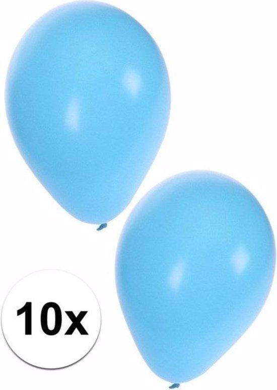 10x stuks lichtblauwe ballonnen 25 cm - Geboorte - Jongen geboren - Babyshower - Feestartikelen/versieringen