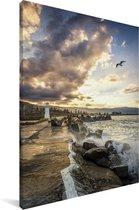 Kleurrijke zonsondergang boven de Wollongong vuurtoren in Australië Canvas 120x180 cm - Foto print op Canvas schilderij (Wanddecoratie woonkamer / slaapkamer) XXL / Groot formaat!