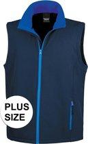 Grote maten softshell casual bodywarmer navy blauw voor heren - Outdoorkleding wandelen/zeilen - Mouwloze vesten plus size 4XL (48/60)