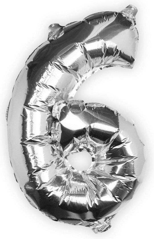 Ginger Ray Pick & Mix - Folieballon cijfer 6 - zilver