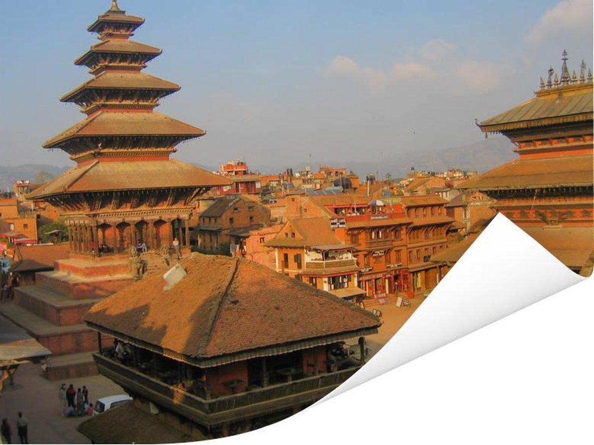 Tempels op het Durbarplein in Kathmandu Poster 160x120 cm - Foto print op Poster (wanddecoratie woonkamer / slaapkamer) XXL / Groot formaat!