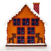 Winterhuisje Adventskalender - 29 x 21 x 32 cm - Hout