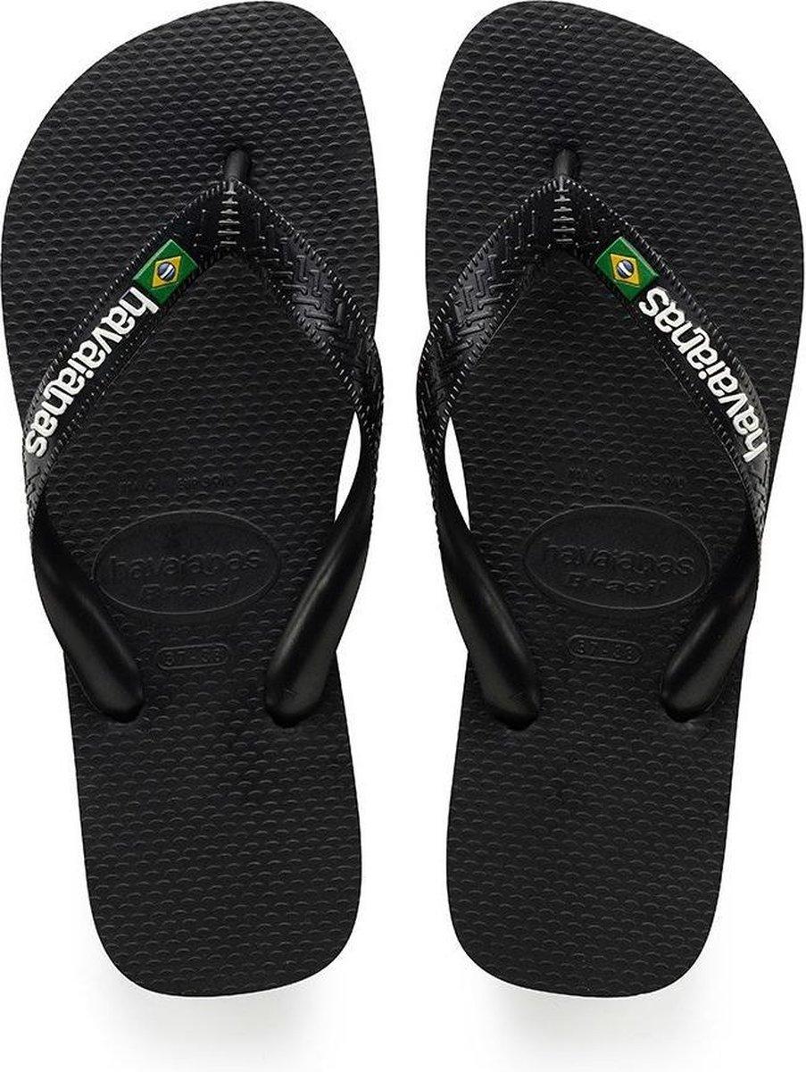 Havaianas Brasil Logo Unisex Slippers - Black - Maat 45/46