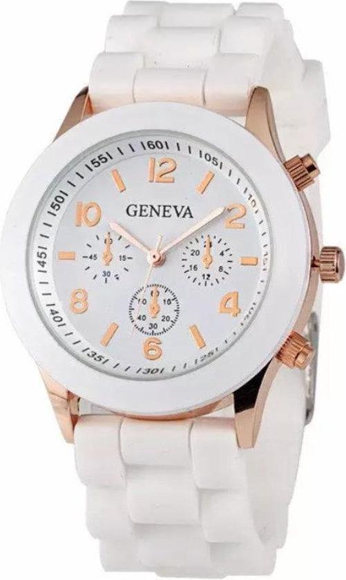 Geneva Siliconen Wit Horloge – Fashion Favorite