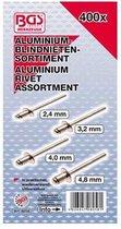 Assortiment aluminium blindklinknagels/popnagels 400 delig BGS 8058