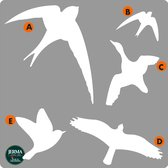 Vogel raamstickers set 5 stuks Wit