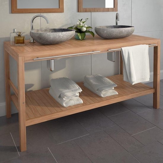 Badkamerkast 132x45x75 cm bruin / badkamer kast hout bruin / handdoeken kast badkamer hout / wasbak badkamer kast