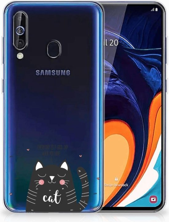 Telefoonhoesje met Naam Samsung Galaxy A60 Cat Good Day