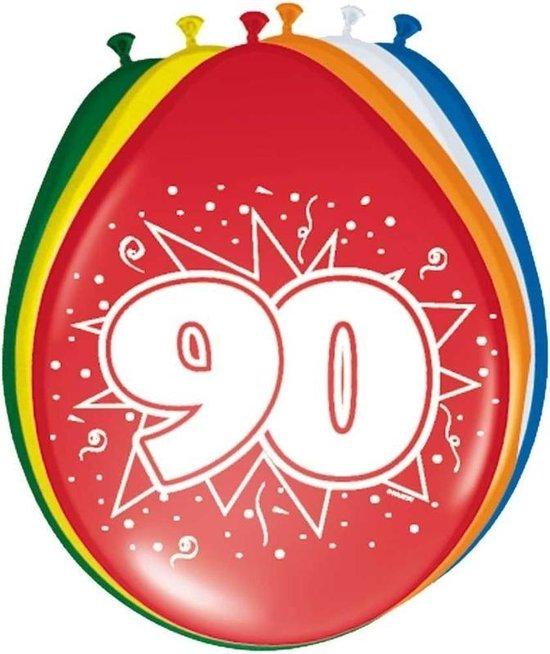 8x stuks Ballonnen versiering 90 jaar