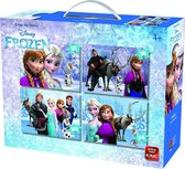 Disney 4-in-1 Puzzle Frozen - Vier Kinderpuzzels in een Koffertje - King