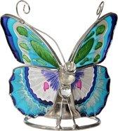 Vlinder waxine houder met Tiffany glas (groot 12 cm)