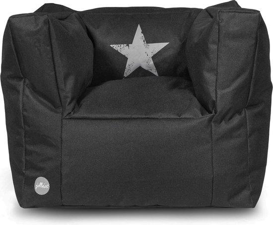 Jollein Stonewashed - Kinderstoel/Beanbag - Faded Star Zwart