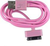 2 stuks - iPhone 4 USB oplaad kabel roze | 1 METER kabeltje voor iPhone 4/4G/4S/3G/3GS/iPod 1/2/3