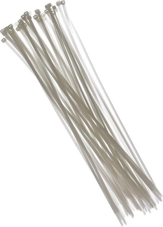Tiewraps 40 cm - Wit - 50 stuks - Kabelbinders - Witte tie wraps - Klus materiaal benodigdheden
