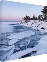 Bevroren zee Canvas 60x80 cm - Foto print op Canvas schilderij (Wanddecoratie woonkamer / slaapkamer) / Zee en Strand