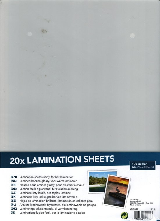 A4 Lamineermachine incl. 20 lamineerhoezen
