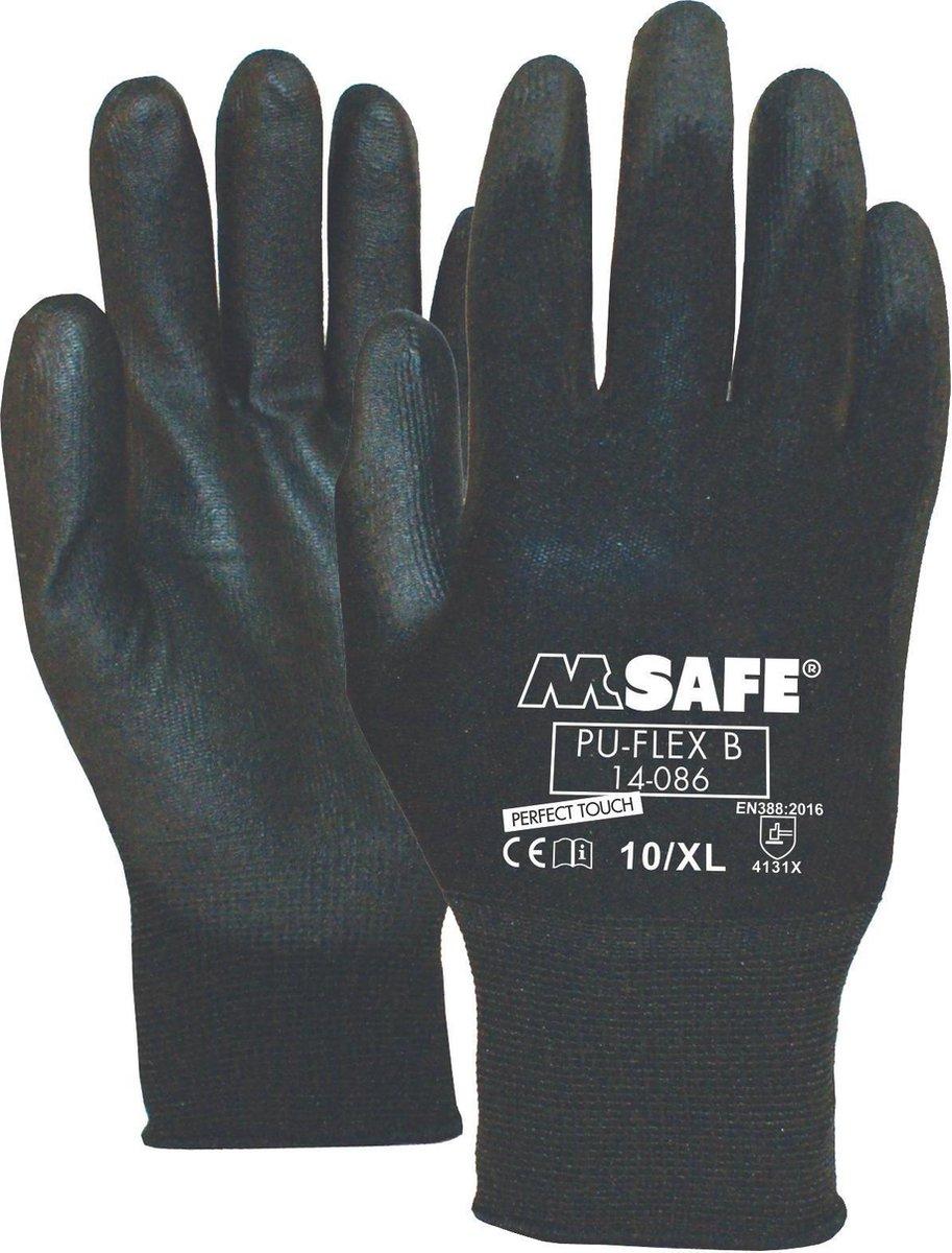Pu-Flex Werkhandschoenen Zwart 11408600 - maat 9