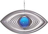 BlinQ Art Windspinner Ellips RVS - 220x105mm - Glaskogel 35mm blauw