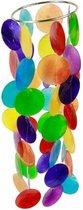Yogi & Yogini naturals Chakra windmobiel multi kleuren Capiz schelp klein - 35 cm - Schelp - Meerkleurig - M