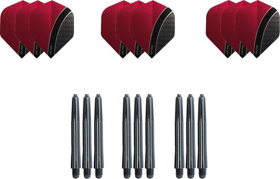 Dragon darts - Dartset - 3 sets Curve dart flights en 3 sets nylon darts shafts - 18 pcs - Rood - darts flights