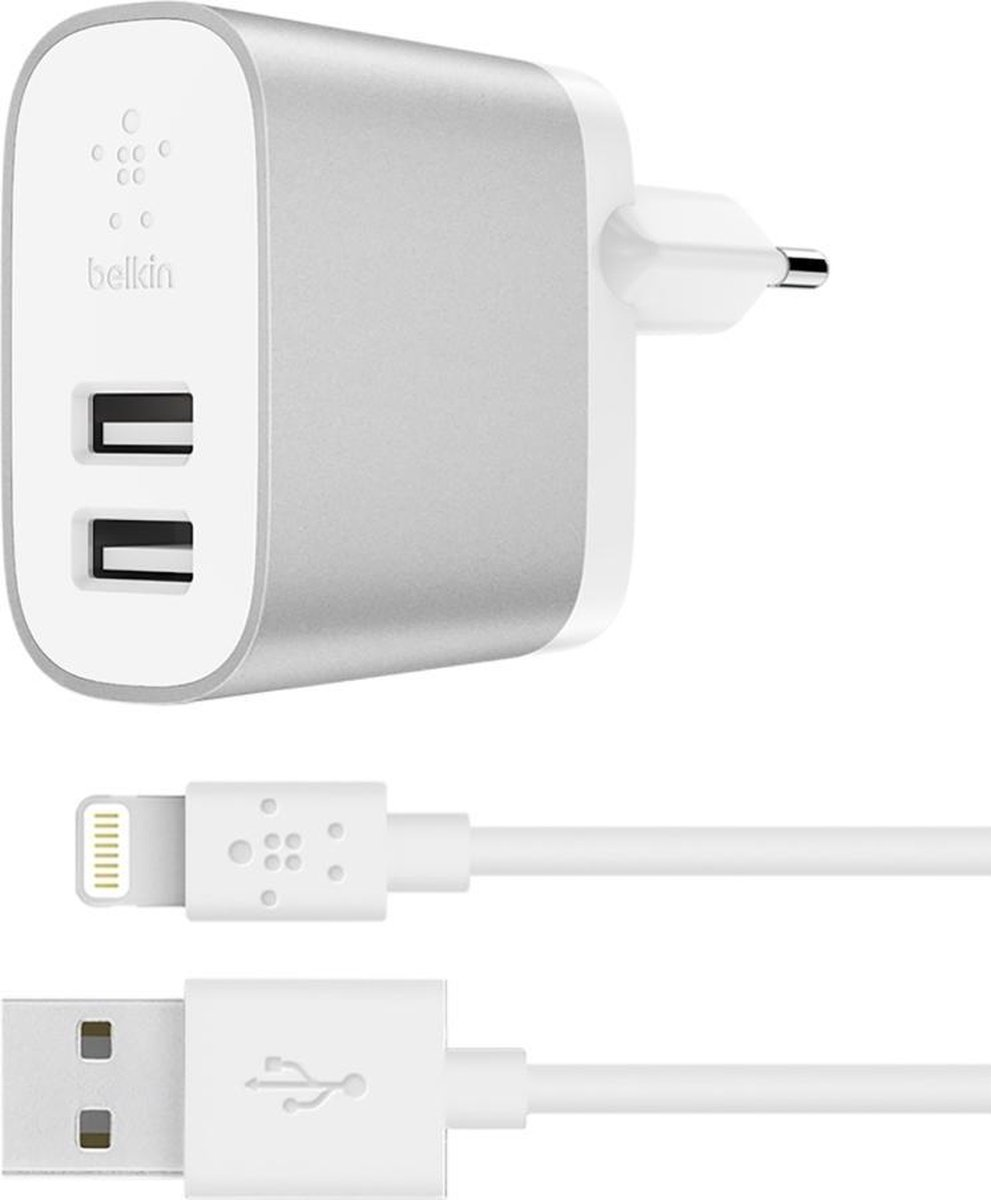 Belkin BOOST↑CHARGE™ 2-poorts 12W lader voor thuis + 1m Apple iPhone Lightning naar USB-A kabel - Wi