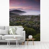 Fotobehang vinyl - Ochtendmist trekt door het Engelse Nationaal park Northumberland breedte 375 cm x hoogte 500 cm - Foto print op behang (in 7 formaten beschikbaar)