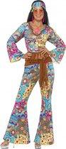 Gekleurde flower power Hippie Sixties dames verkleedkleding 36-38 (S)