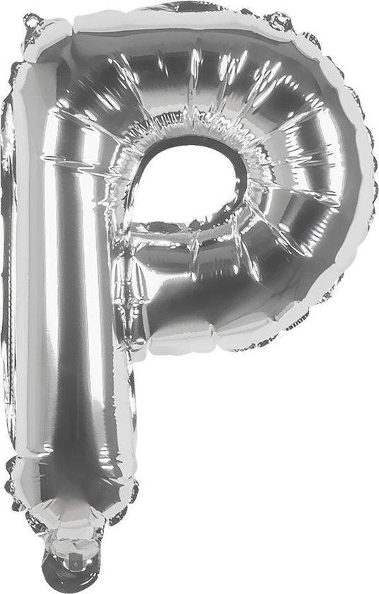 Boland Ballon Letter P Zilver 36 Cm