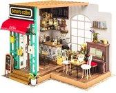Robotime Simons Koffie DG109 - Houten Modelbouw -  Miniatuur bouwpakket Poppenhuis met LED licht - DIY