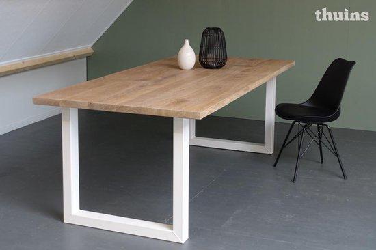 Verrassend bol.com | Eiken tafel stalen witte poten 200x100cm MN-94