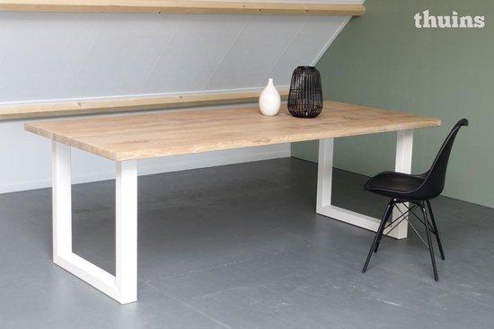 Ongebruikt bol.com | Eiken tafel stalen witte poten 200x100cm PD-36