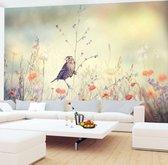 Fotobehang Vliesbehang Muurposter Bloemen Vogel 3D Effect 308x220 cm