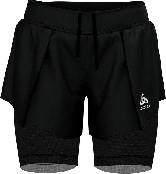 Odlo 2-In-1 Shorts Zeroweight Ceramicool Pro Dames Sportbroek - Black - Maat XS