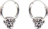 Karma Hoops Symbols Leopard Silver Oorknoppen  - Zilver
