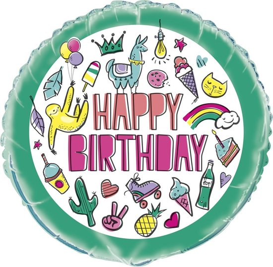 Unique Folieballon Birthday Icons Groen 45 Cm
