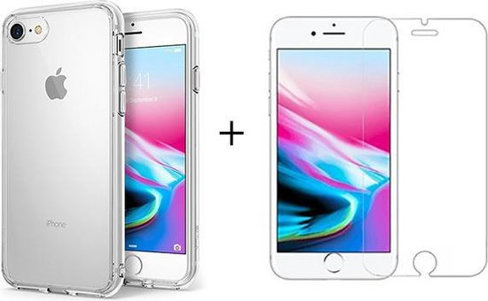 Apple iPhone 7 Hoesje Transparant en Apple iPhone 8 Hoesje Transparant en Apple iPhone SE 2020 Hoesje Transparant Siliconen Case Hoes Cover - 1x iPhone 7/8/SE 2020 Screenprotector