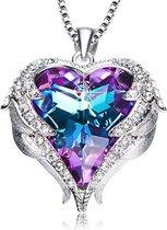 Paarse Engel Vleugel Kettingen voor vrouwen Love Swarovski® Hart Pendant Hanger - Ketting 43cm +