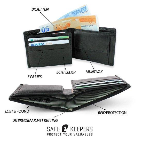 Safekeepers Heren Portemonnee Compact Leer - Zwart - safekeepers