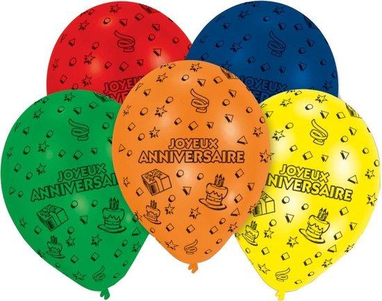 Pegaso Ballonnen Joyeux Anniversaire All-over Print 8 Stuks 25 Cm