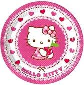 16x Hello Kitty themafeest bordjes 23 cm - Kinderfeestje/kinderverjaardag/kinderpartijtje - Bordjes voor verjaardag meisje