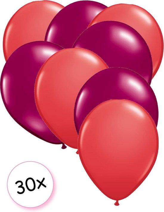 Ballonnen Rood & Fuchsia 30 stuks 27 cm
