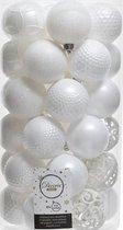 Decoris kerstballen mix - 6 cm - 37 stuks - winter wit - plastic