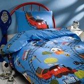 Day Dream Trein - Dekbedovertrek - Eenpersoons - 140x200 cm + 1 kussensloop 60x70 cm - Blauw
