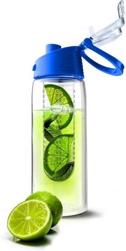 Waterfles met Fruit Filter Infuser 800 ML | BPA Vrij | Drinkfles -  Blauw