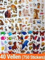 Stickers 40 Vellen Dieren | 750 Stuks Voor Kinderen | 3D Foam Dieren Stickers | KMST009