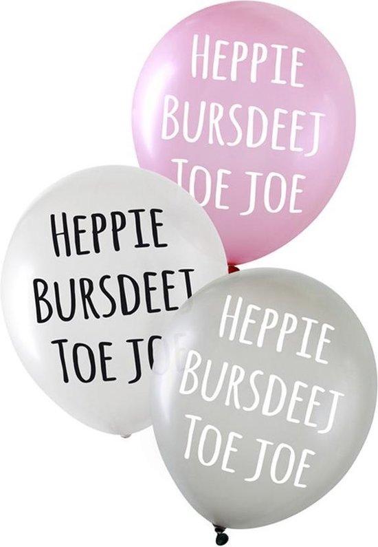 Ballonnen - Heppie bursdeej - Metallic - 6st.