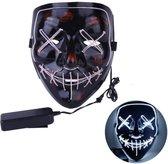 Led verlichting party masker Vendetta / Purge met meerdere standen. Halloween masker  Wit